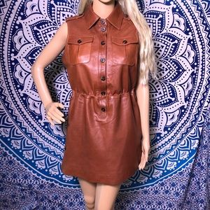 Etcetera Dress 8 Brown Sleeveless Genuine Leather